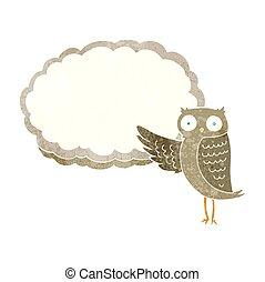 retro cartoon owl pointing
