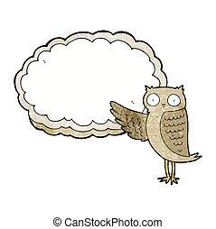 textured cartoon owl pointing