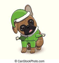 French Bulldog Cartoon Puppy Character Portrait