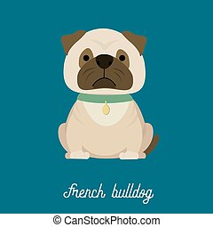 French Bulldog, cartoon vector