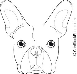 French Bulldog dog easy coloring cartoon vector illustration. Isolated on white background
