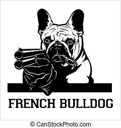 French Bulldog dog with a shotgun and cigar - French Bulldog gangster. Head of angry French Bulldog