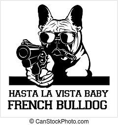 French Bulldog dog with glasses, gun and cigar - French Bulldog gangster. Head of angry French Bulldog