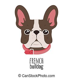 French bulldog face. Cute brown Frenchie with bunny ears. Vector
