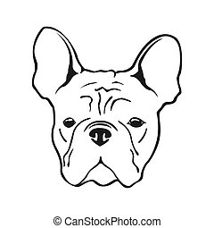 French bulldog face dog. French bulldog dog logo.