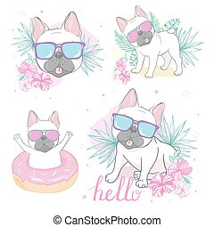 french bulldog face dog heart Glasses illustration vector cartoon