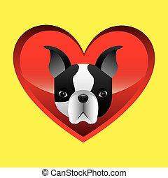 french bulldog face icon design