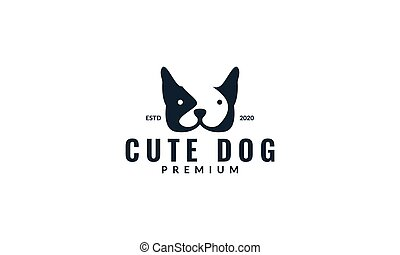 french bulldog head face logo design