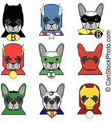 French bulldog Dog Superheros such as Superman, Batman, Robin, Ironman, Spiderman, Green Lantern, Captain America, Flash, Hulk icons