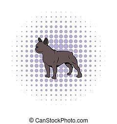 French bulldog icon, comics style