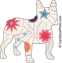 French bulldog painted silhouette vintage
