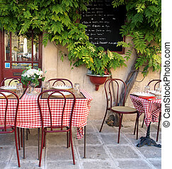 tranquil setting at a sidewalk cafe in Provence