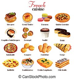 A vector illustration of French cuisine icon sets