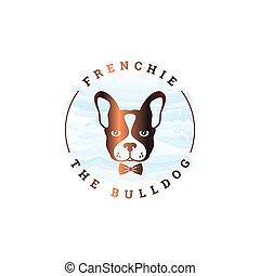 Frenchie bulldog logo. Rounded logo of bulldog on white background 10 eps