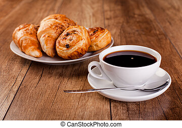 fresh coffee and croissant