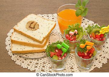 Fresh fruit salad with orange juice, fusion food for diet