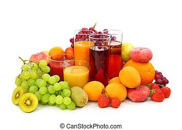 Fresh fruits and juice isolated on white background