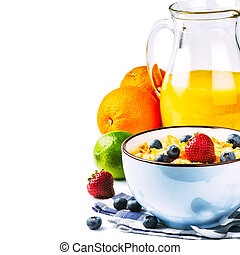 Fresh healthy breakfast with cereals and fruits