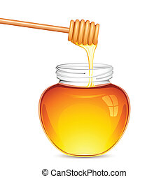 illustration of drizzler dripped in honey with glass jar