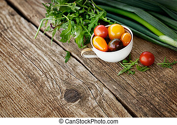 Fresh ingredients for cooking in rustic setting. Healthy eating. Organic vegetables