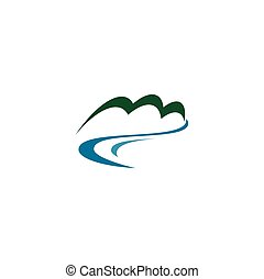 fresh mineral spring water river and mountain logo vector