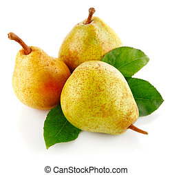 fresh pear fruits with green leaves