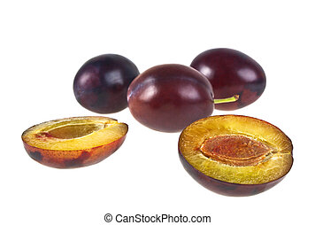 Fresh plums isolated on white background. Plum fruits. Plums. Fresh plums. Healthy plums.