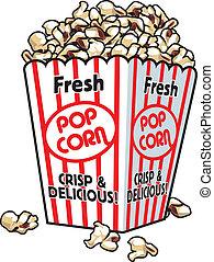 A box with fresh popcorn