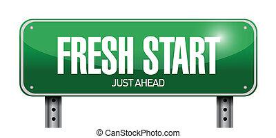 fresh start road sign illustration design over a white background