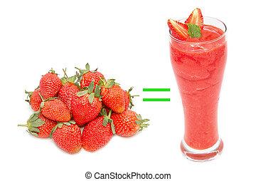 fresh strawbeery and strawberry smoothie