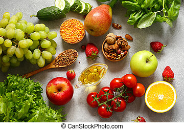 fresh vegetables and fruits for healthy eating