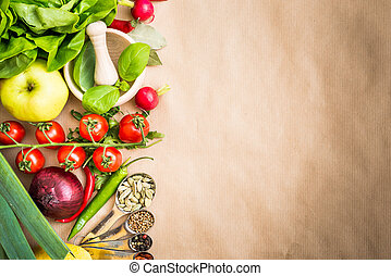 Fresh vegetables on a brown background