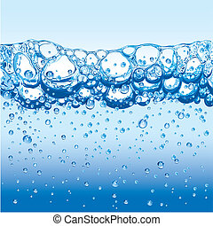 Fresh Water with sparkling bubbles and froth, editable vector illustration