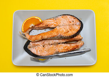 fried salmon trout and salmon on dish