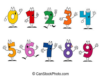 Digital Collage Of Colorful Number Characters