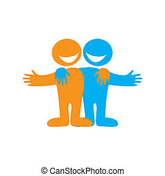 Icon Happy friends. Symbol of friendship. Vector sign.