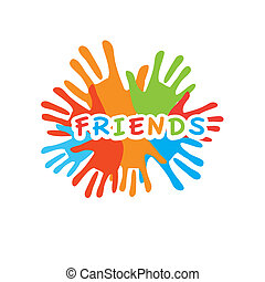 Sign of friends. Vector symbol of friendship uniting.