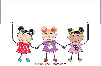 three cute mixed ethnic girls