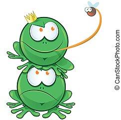 frog cartoon on white background