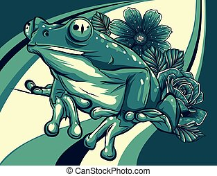frog with flower colored background vector illustration