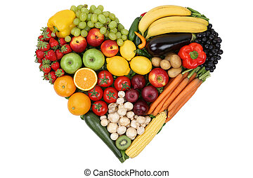 Fruits and vegetables forming heart love topic and healthy eatin