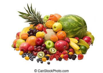 Fresh colorful fruits isolated on white background
