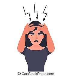 Frustrated woman with headache.
