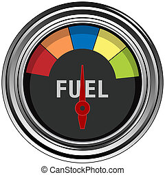 An image of a chrome fuel gauge.