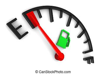 Empty fuel gauge illustration on white background