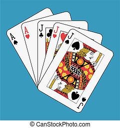 Full house jacks aces on blue