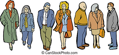 Full length group people Several different unrecognizable business people on the white background. Colored vector illustration.