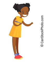Full length of little african-american smiling girl standing and posing. The concept of childhood. Vector cartoon illustration isolated on white background.