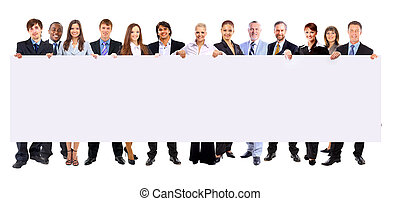 Full length of many business people in a row holding a blank banner isolated on white background