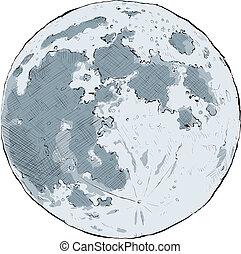 Cartoon illustration of the full moon.